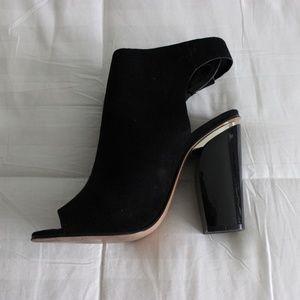 Zara Black Faux Suede Open Toe Metallic Booties